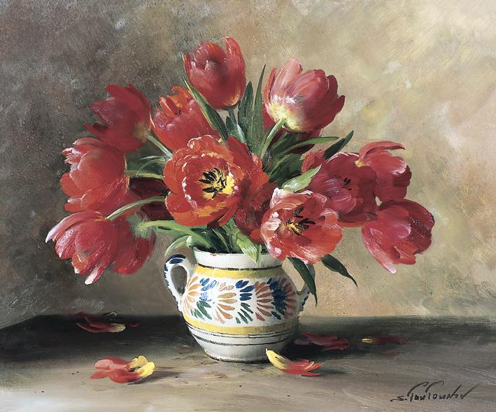 Тюльпаны репродукция для интерьера картина букет цветов маслом цветы в живописи натюрморт тюльпаны цветы в вазе букет тюльпанов