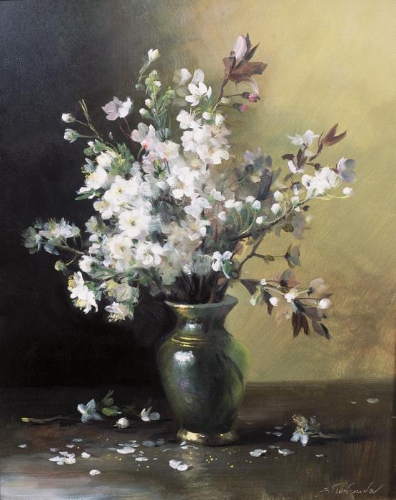 Цветы сливы репродукция для интерьера картина букет маслом в живописи цветы сливы в вазе весенний букет цветущие деревья