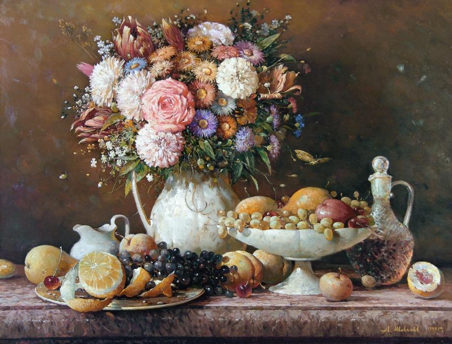 Фрукты и цветы натюрморт