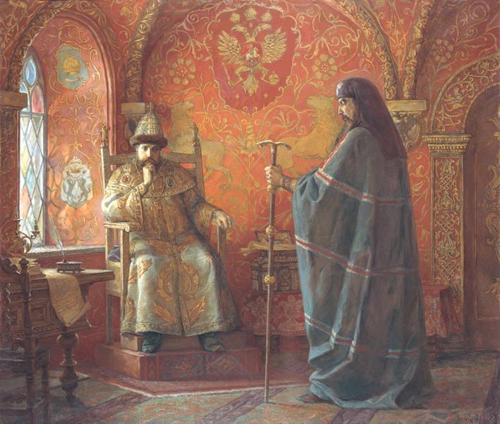 Царь Алексей Михайлович и Патриарх Никон картина картины живопись репродукция репродукции художник